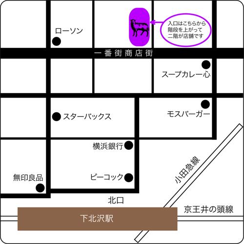 東京下北沢の古書店クラリスブックスの地図